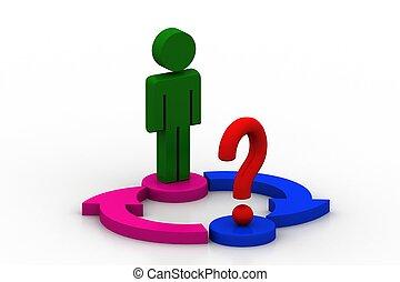 3d man and question mark on the arrow