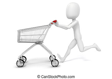 3d man and shopping cart on white background