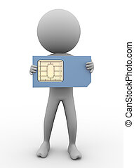 3d man and sim card