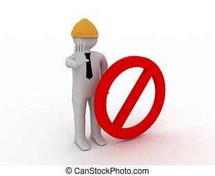 3d man and stop symbol