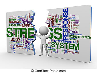 3d man and stress wordcloud - 3d man pushing broken...
