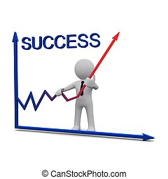 3D man and success graph with red arrow