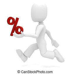 3d man and the percentage symbol