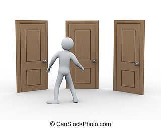 3d man and three doors