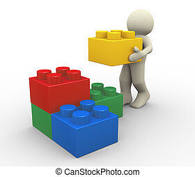 3d man and toy blocks