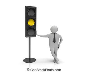 3d man and traffic light