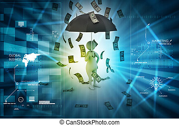 3d man and umbrella in money rain
