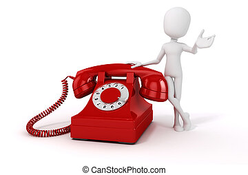 3d man and vintage red phone on white background