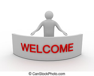 3D man and word welcome - 3d man and word welcome