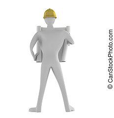 3D man architect looking at blueprints