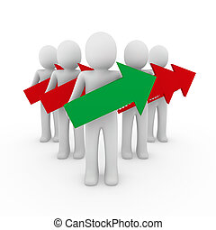 3d man arrow red green high business success