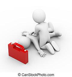 3d man artificial breath first aid help