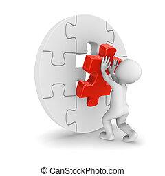 3d man assembling puzzle piece