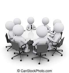 3D man at business meeting - 3D men sitting at a round table...