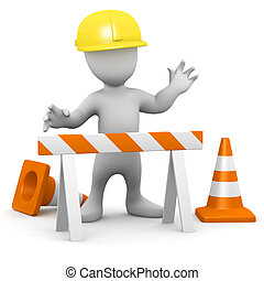 3d Man at road works - 3d render of a little person in hard...