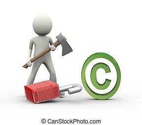 3d man axe padlock copyright concept