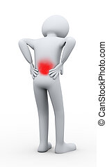 3d man back pain - 3d illustration of person with backache ...