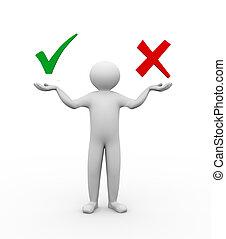 3d man balance accept and decline symbols