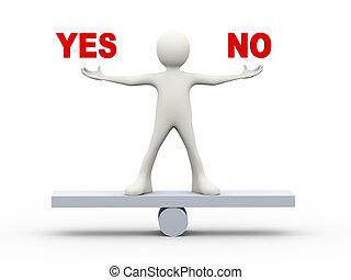 3d man balance yes and no symbols