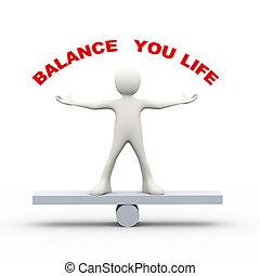 3d man balance your life concept