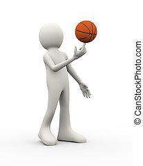 3d man balanced spinning basketball