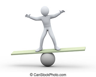 3d man balancing on ball - 3d illustration of person ...