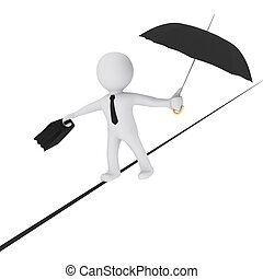 3D man balancing on the rope with umbrella