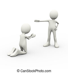 3d man begging his boss