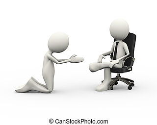 3d man begging to seated boss on chair