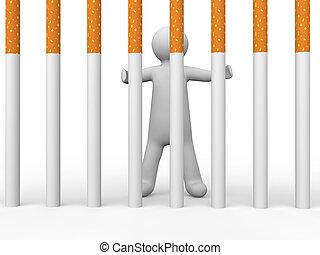 3d man behind cigarette bars