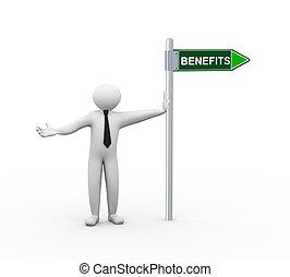 3d man benefits road sign
