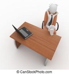 3d man boss at office