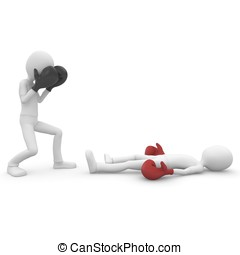 3d man boxing and kicking isolated on white