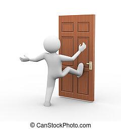 3d man breaking door