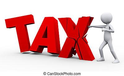 3d man breaking word tax