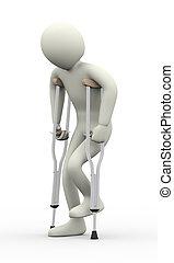 3d man broken leg with crutches
