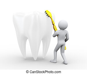 3d man brushing a large tooth