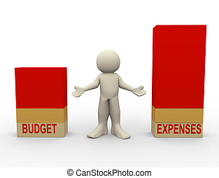 3d illustration of stress man standing between budget and expenses comparison bars. 3d people human rendering.