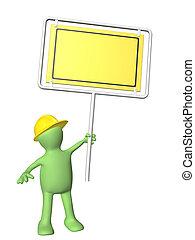 3d man-builder with emergency billboard