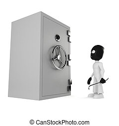 3d man burgler, isolated on white
