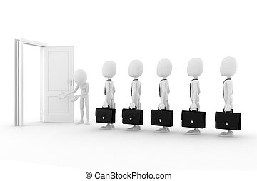 3d man business concept, on white background
