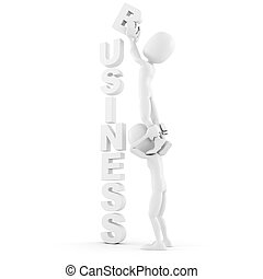 3d man business concept,on white background