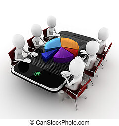 3d man business conference concept, on white background