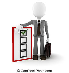 3d man business man and check list, on white background