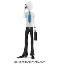 3d man business man talking at phone
