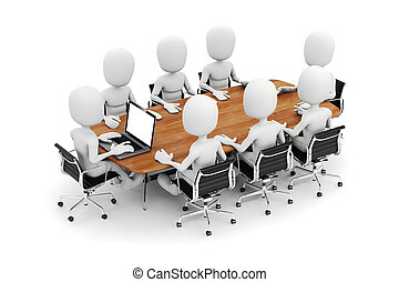 3d man, business meeting, on white background