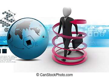 3d man business success concept