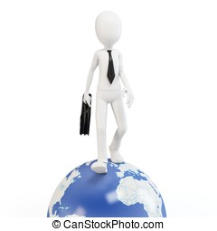 3d man business walking on earth globe