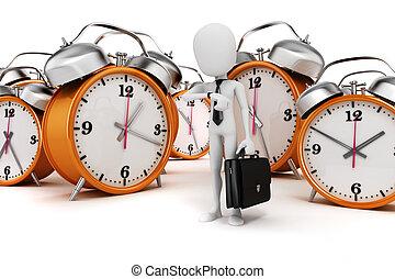 3d man businessman and alarm clock