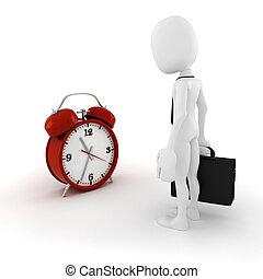 3d man businessman and an alarm clock